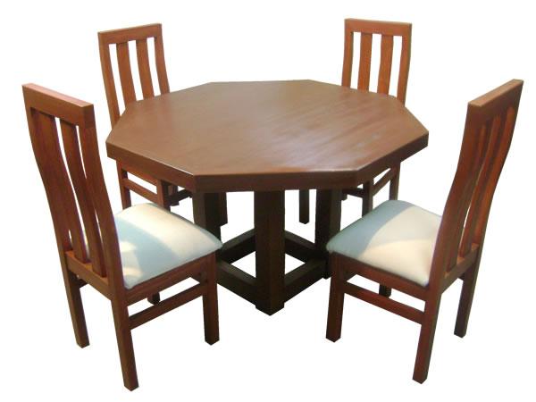 Comedor Mesa Octagonal pata central 4 sillas - Comedores DyP ...