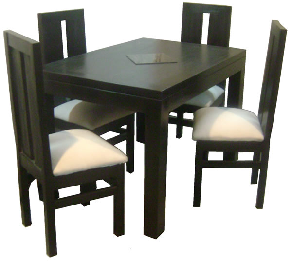 Comedor mesa rectangular 120x80 4 sillas comedores dyp for Comedores triangulares de 6 sillas