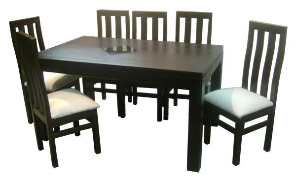 Comedor rectangular 150x90 6 sillas cherry comedores for Comedor tapizado moderno