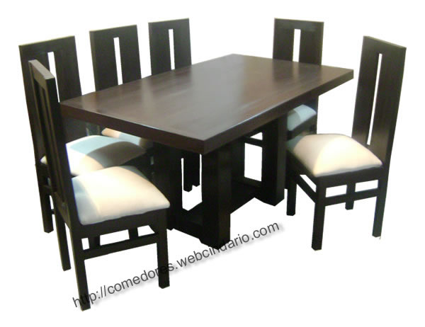 Comedor rectangular pata central 6 sillas comedores dyp for Catalogo de comedores de madera