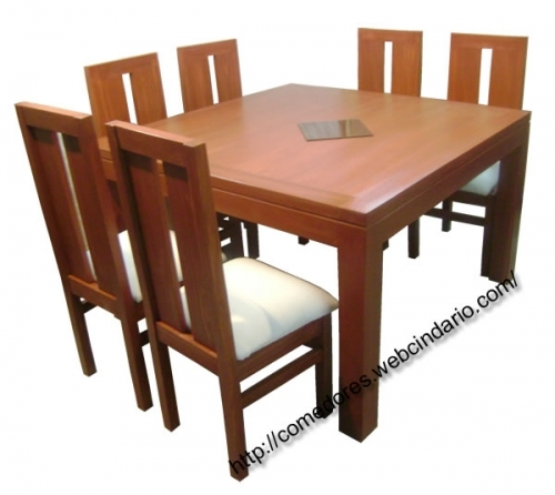 Comedor grande 8 sillas 130x130 comedores dyp comedores for Comedores de madera nuevos