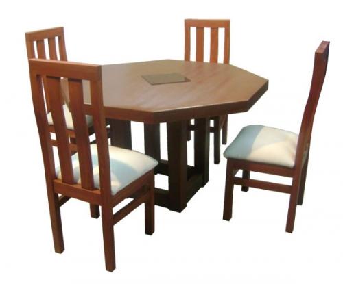 comedor mesa octagonal pata central sillas