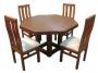 Comedor Mesa Octagonal pata central 4 sillas