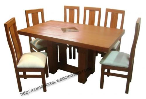 comedor rectangular pata central 6 sillas - Comedores DyP, comedores ...