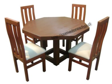Juego comedor mesa octagonal pata central 4 sillas for Comedor 8 sillas chile