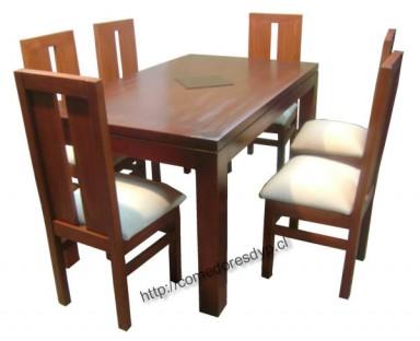 Juego comedor mesa rectangular 150x90 6 sillas mueble for Comedores triangulares de 6 sillas