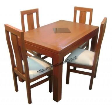 Juego comedor mesa rectangular 120x80 4 sillas mueble for Disenos de comedores de madera
