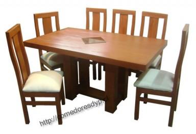 Juego comedor mesa rectangular patas centrales, 6 sillas,mueble ...