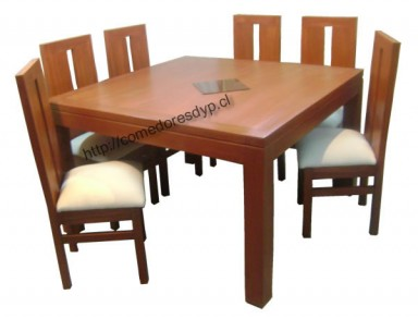 Juego comedor mesa cuadrada 130X130, 6 sillas, Mueble color ...